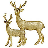 Set of 2 Gold Polyresin Standing Stag Christmas Ornaments
