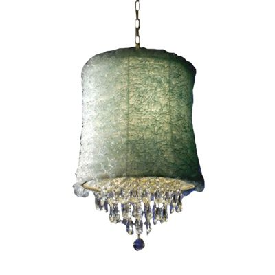 Cream Chandelier - 3-Arm, with Blue Ruffle Shade