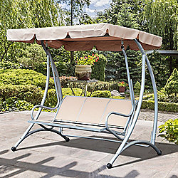 Outsunny Garden Swing Chair Patio Hammock 3 Seater Seat Bench