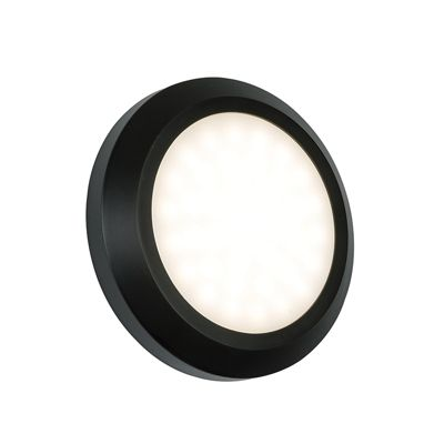 Severus Round Direct 2W Warm White Wall Light Black Abs Plastic