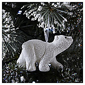 White Glitter Polar Bear Christmas Tree Decoration
