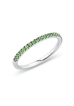 Jewelco London 18ct White Gold - Green Garnet Claw-set - Half Eternity Ring - Size J