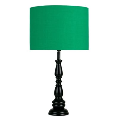 Hammond Candle Stick Table Lamp, Gloss Black & Green