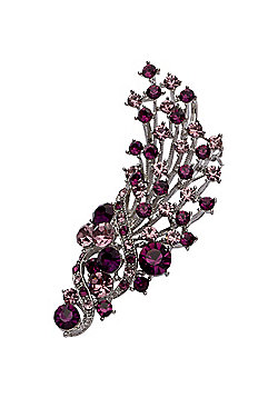 Rhodium Plated, Dark & Light Amethyst Crystal Flower Bouquet Brooch