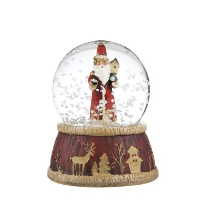 Traditional Santa Snow Globe - Large