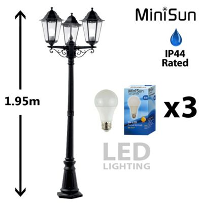 Traditional 1.95m 3 Way Outdoor LED Lamp Post in Black
