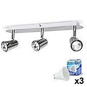 Hardy Three Way LED Ceiling Spotlight, Chrome & Daylight GU10 Bulbs