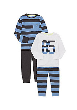 F&F 2 Pack of Number and Striped Pyjamas - Multi