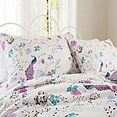 Peacock and Flowers Super King Size Bedding in 100% Cotton