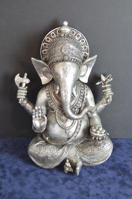 Ganesha Electro Silver Plated Hindu Bubbhist Ganesh Statue 15'' High