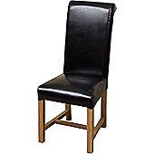 Washington Braced Frame Black Leather Dining Chairs