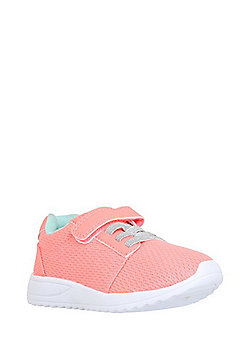 F&F Sparkle Lace Riptape Trainers - Coral