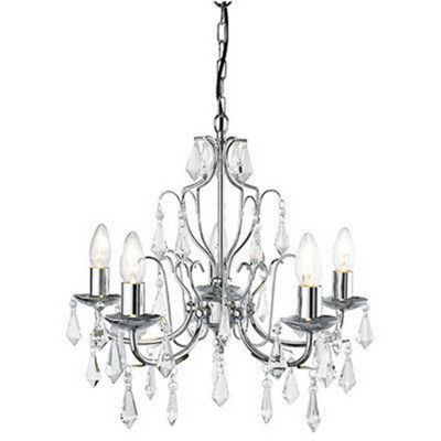 5 Light Modern Chrome Finish Crystal Chandelier - Ceiling Decor