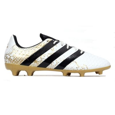 adidas Ace 16.3 FG Firm Ground Mens Football Soccer Boot White/ Gold - UK 9