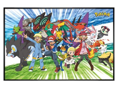 Pokemon Gloss Black Framed Traveling Party Poster 61x91.5cm,