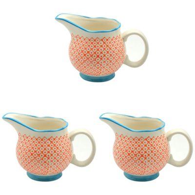 Patterned Porcelain Milk / Gravy / Cream Jug - Orange / Blue - 300ml - Box of 3