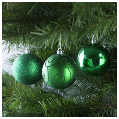 Festive Rich Green Christmas Baubles, 6 Pack