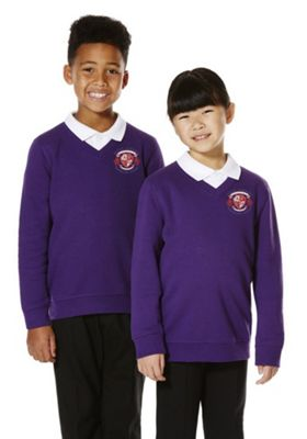 Unisex Embroidered V-Neck School Sweatshirt with As New Technology 13-14 years Purple