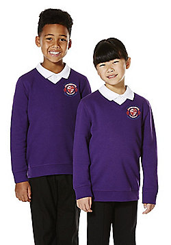 Unisex Embroidered V-Neck School Sweatshirt with As New Technology - Purple