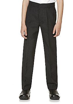 "F&F School 2 Pack of Boys Teflon EcoElite""™ Flat Front Slim Leg Shorter Length Trousers - Dark grey"