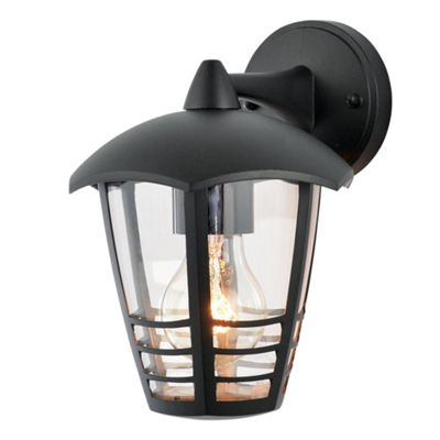 Litecraft Monaco 1 Bulb Outdoor Die Cast Curved Modern Wall Lantern, Black