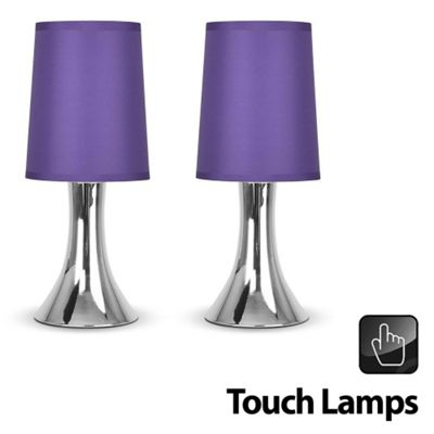 Pair of Trumpet Touch Table Lamps, Chrome & Purples