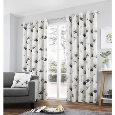 Fusion Kiera Grey Eyelet Curtains - 46x54 Inches (117x137cm)