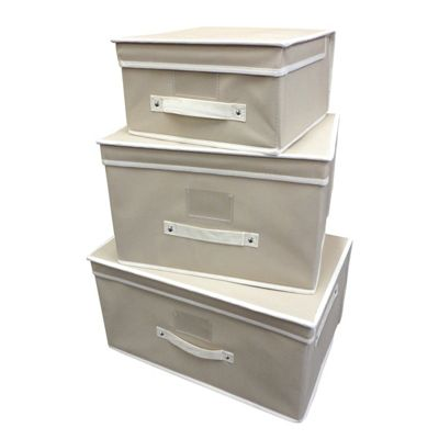 Country Club 3 Piece Storage Chests, Natural