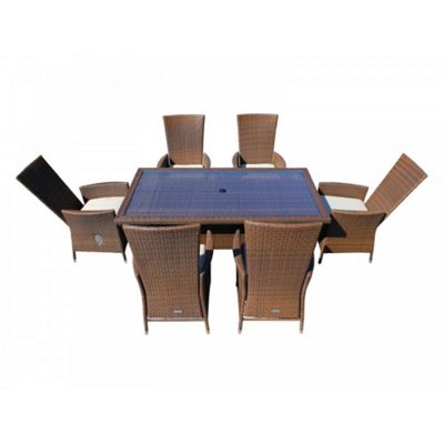 Cambridge 6 Reclining Chairs And Large Rectangular Table Set in Chocolate Mix and Coffee Cream