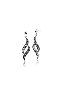 Gemondo 925 Sterling Silver 0.59ct Marcasite Art Nouveau Drop Earrings