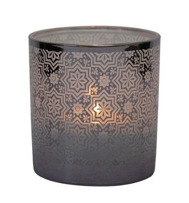 Table Tech Cordoba Glass Votive Candle Holder, Silver
