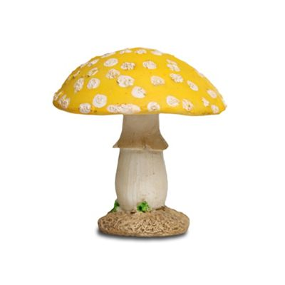 Short Yellow Head Resin Mushroom Toadstool Garden Ornament