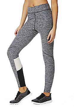 F&F Active Mesh Panel Marl Leggings - Grey