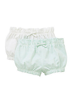 F&F 2 Pack of Striped and Plain Bloomer Shorts - Blue & White
