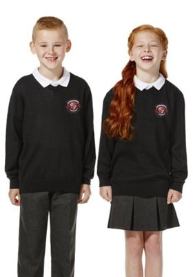 Unisex Embroidered V-Neck School Jumper with Wool 13-14 years Black