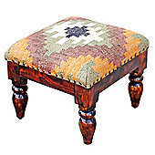 Homescapes Upholstered Kilim Solid Wood End Table Green
