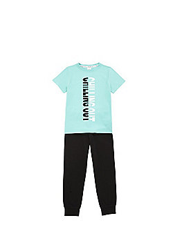 F&F Chilling Out Slogan Pyjamas - Mint/Black