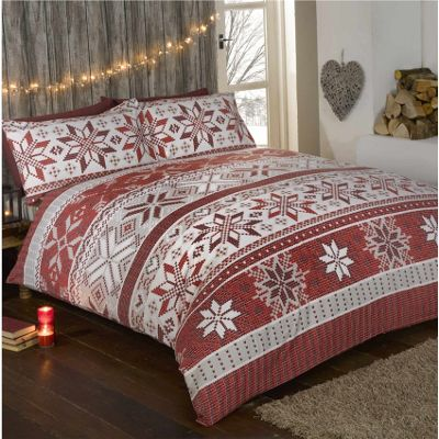 Rapport Stockholm Red Brushed Cotton Christmas Duvet Cover Set - Single