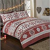 Rapport Stockholm Brushed Cotton Christmas Duvet Cover Set - Red