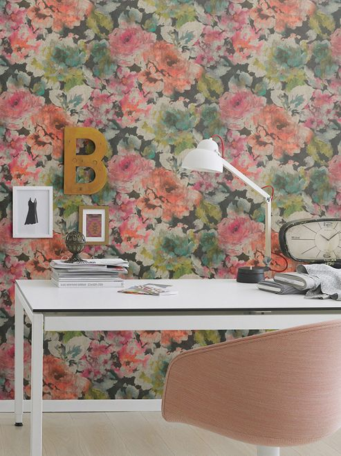 Florentine Floral Fabric Effect Wallpaper Pink, Coral and Black Rasch 455663