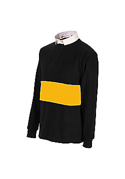 Uwin Reversible Men's Long Sleeeved Rugby Shirt - Black & Yellow