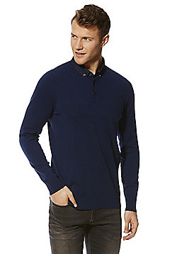F&F Woven Collar Knitted Long Sleeve Polo Shirt - Bright blue