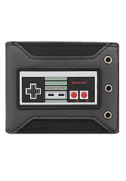 Nintendo Controller Rubber Badge Bifold Black Wallet 11x9x1.5cm