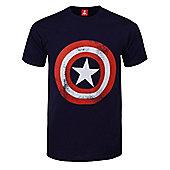 Marvel Comics Captain America Shield Distressed Navy Blue Men's T-shirt - White