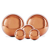 Set of Five Copper Stainless Steel Garden Sphere Ornaments 2.5, 3 and 5cm