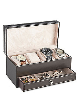 VonHaus Brown Faux Leather Watch and Cufflink box