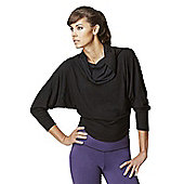 Womens Multi-Way 2 in 1 Reversible Long Length Sleeve Loose Yoga Top - Black