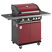 MasterChef 4 Burner Gas BBQ with Side Burner, Red - With Cover