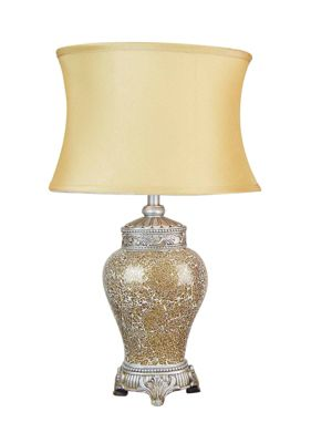 New Large Gold Mosaic Lamp with Gold Oval Shade 2ft x 1ft2 (62cm x 37cm)