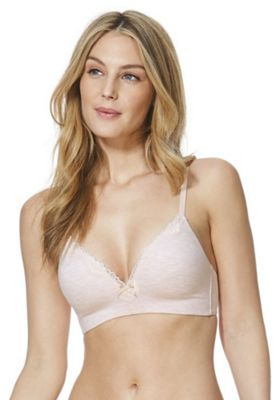 F&F Pretty Everyday Lace Trim Marl Non-Wired Bra Pink 36 D cup